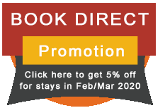 Book Direct to get 5% off for Stays in February, and March 2020
